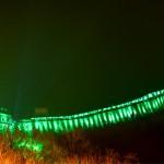 Китайската стена в Китай светна в зелено