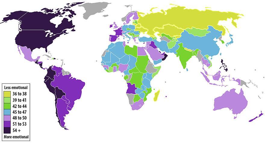 Държавите спрямо емоционалните им характеристики