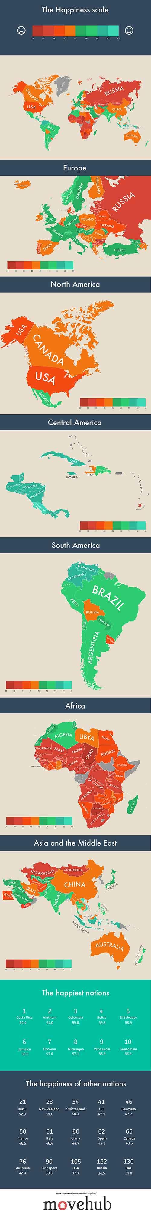 Креативна инфографика показваща щастието по света