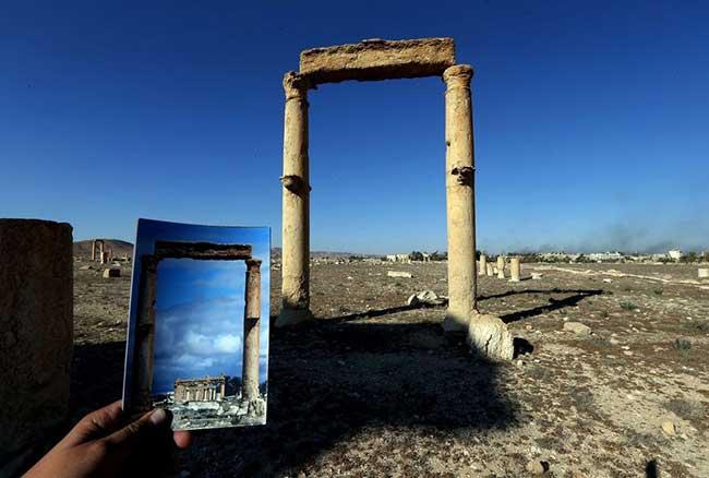 Погубената красота на Палмира преди и след